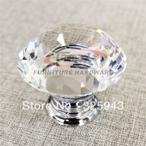 Dresser Knobs 2pcs 30mm Zinc Alloy Clear Glass Glass Cabinet