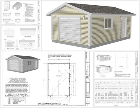 garage design plans free garage plans g521 16 x 24 x 8 garage plans pdf and dwg