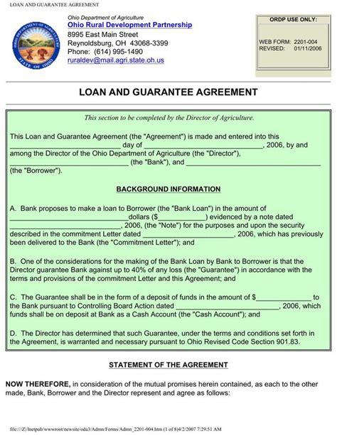 guarantee form template guarantee loan agreement form template free