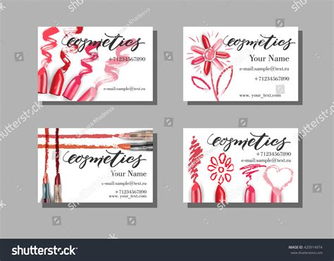 free card templates with lipstick makeup artist business card vector template stock vector