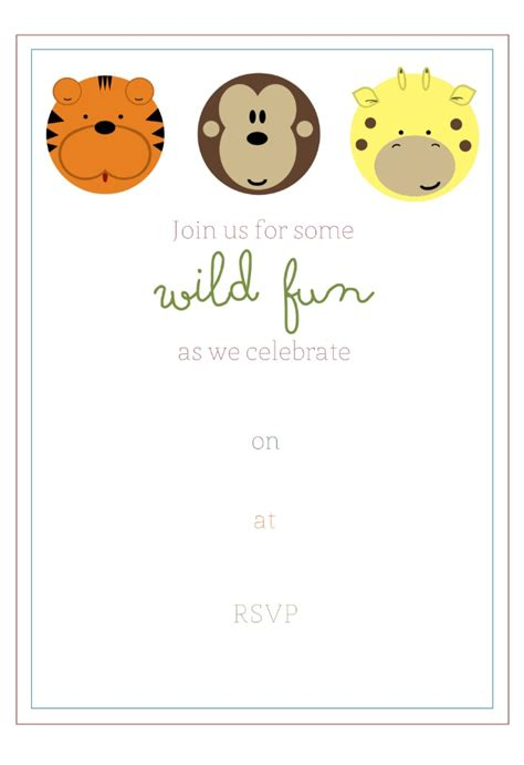 jungle invitation template free jungle birthday invitaton and favor tags