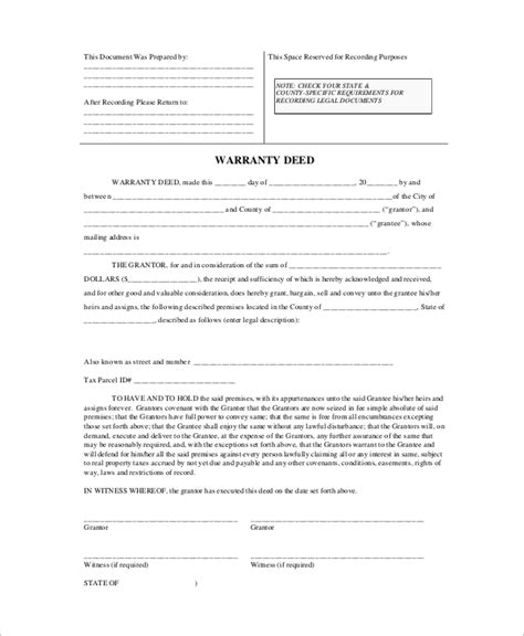 sle warranty deed form 8 exles in pdf