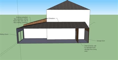 Single Car Garage single storey side extension with sloped roof 10x2m