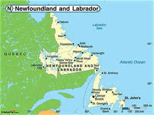 nl canada map newfoundland and labrador weather forecast timezone and