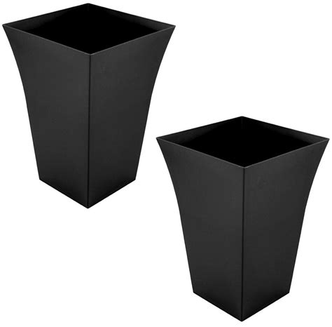 Black Outdoor Plant Pots 2 X Large Planter Square Plastic Garden Flower