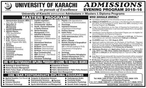 Mba Evening Program In Karachi by Of Karachi Uok Ms Mphil Phd Admission 2015