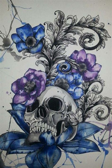 gothic flower tattoo designs unique pin files skull