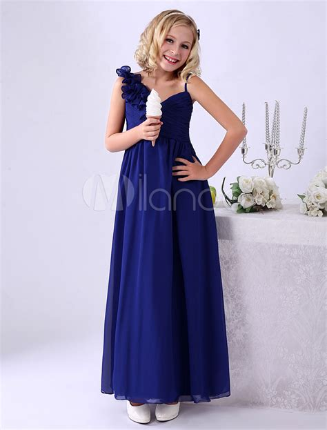 Enfocus Blue Flowers Vneck Dress Original royal blue a line floor length flower chiffon junior