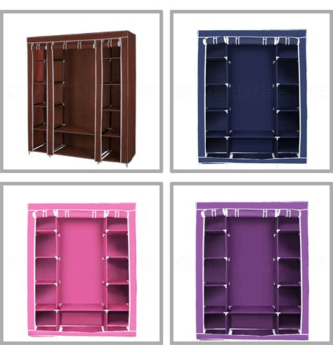 Canvas Clothes Closet by Portable Canvas Clothes Closet Wardrobe Storage Organizer With Shelves 53 Quot Large Ebay