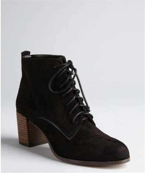 dolce vita black suede hal lace up ankle boots in black lyst
