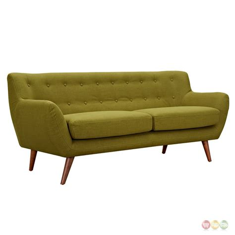 Modern Green Sofa Ida Modern Green Button Tufted Upholstered Sofa With Walnut Finish