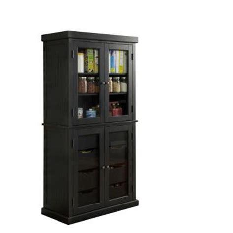 home styles americana hardwood china pantry in black 5003