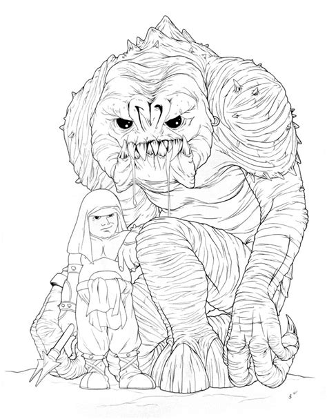 rancor coloring pages rancor and keeper ink drawing by jeff confer mighty