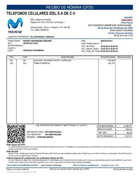 metodo de pago en recibos de nomina 2016 formato de factura electr 243 nica gncys n 243 mina digital 2018