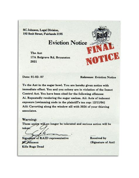 raid eviction notices on behance