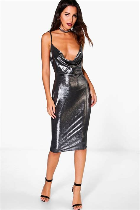Cowl Midi Dress pearl metallic strappy cowl neck midi dress at boohoo