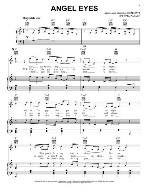 theme song in angel eyes angel eyes sheet music by john hiatt piano vocal