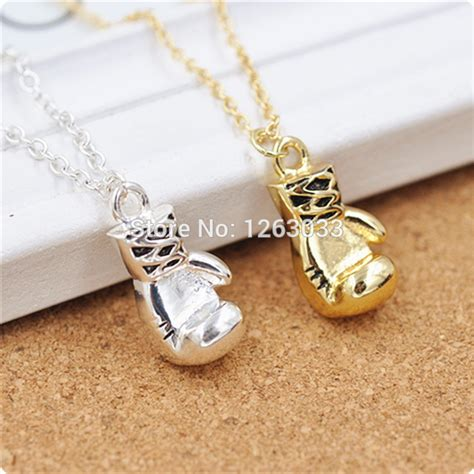 free shipping gold boxing glove pendant and chain necklace