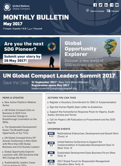 Scu Mba Bulletin by Un Global Compact Bulletin May 2017 3bl Media