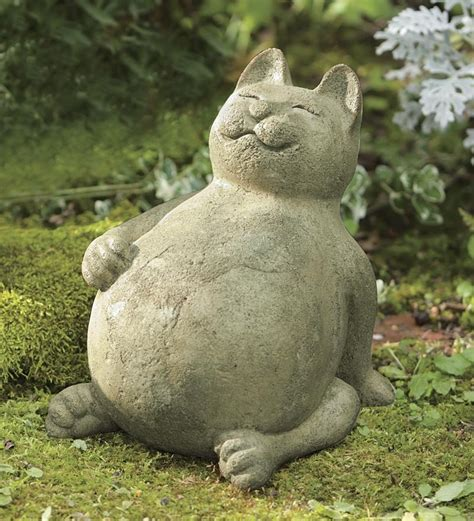 handcrafted volcanic ash fat cat garden statue deck patio accents