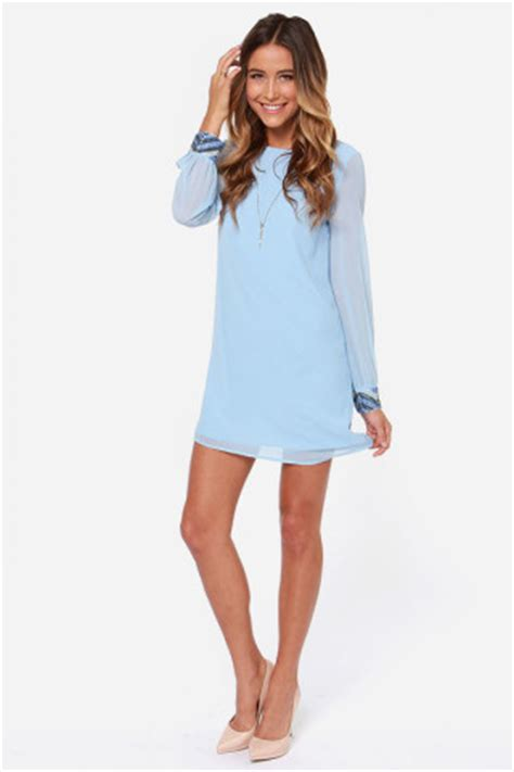 Light Blue Shift Dress by Lulus Exclusive Bead Reputation Light Blue Shift Dress