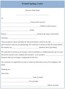 letter template for formal apology sle of formal