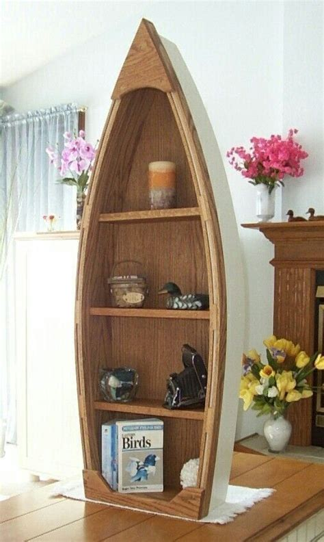 handcrafted 4 foot wood row boat shelf bookcase bookshelf