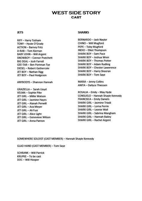 Or Cast List Co2 West Side Story Cast List