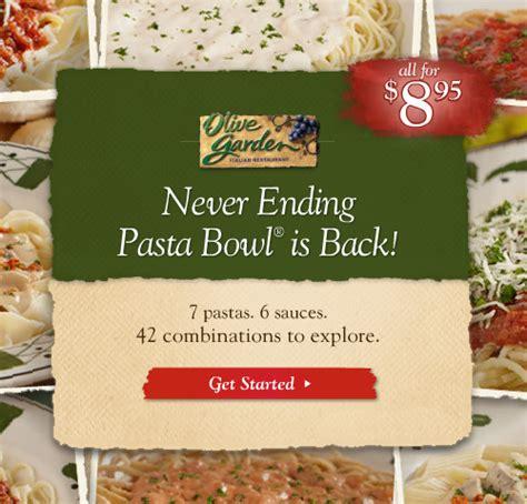 olive garden coupon never ending pasta bowl olive garden never ending pasta bowl is back 8 95