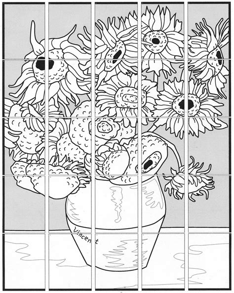 coloring page of vase with sunflowers van gogh s sunflower mural van gogh sunflowers van gogh