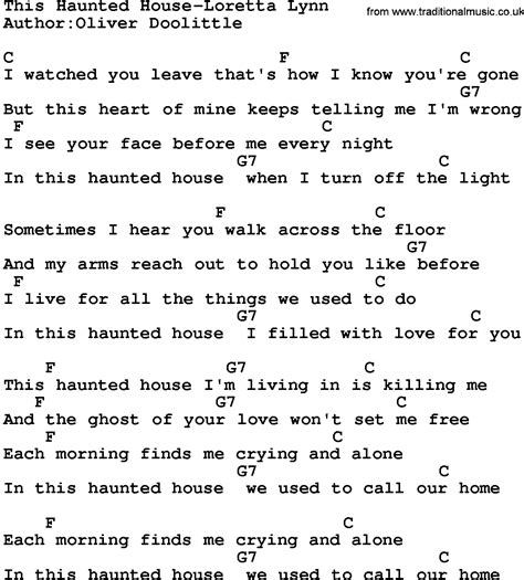 house music song lyrics country music this haunted house loretta lynn lyrics and chords