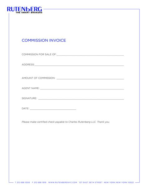 invoice commission sle free invoice template