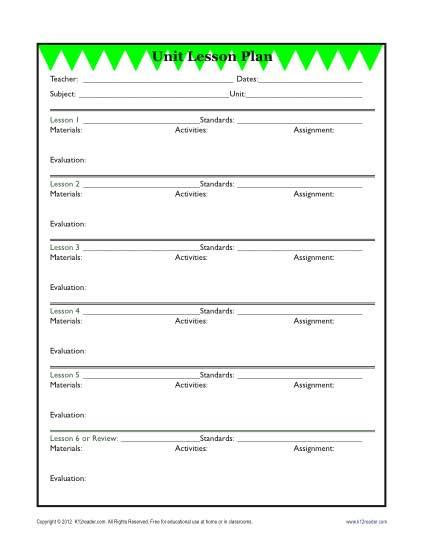 elementary lesson plan template search results for unit plan template for elementary