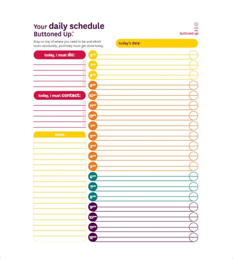 daily tasks schedule templates card for daily task list templates 8 free sle exle