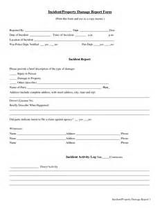 Property Damage Report Template Best Photos Of Incident Report Forms Printable Printable
