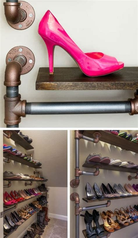 diy closet shoe rack 18 diy shoe storage ideas for small spaces iron pipe