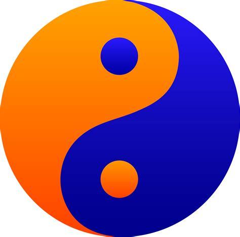 blue and orange orange and blue yin yang symbol free clip art