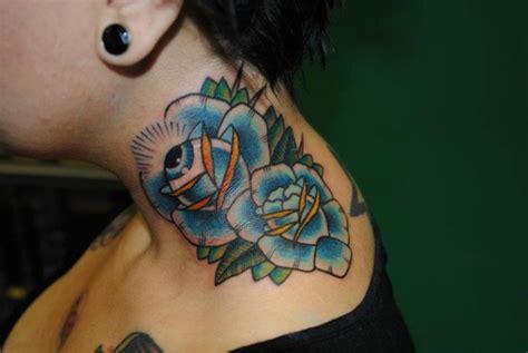 tattoo new school neck new school flower neck tattoo by hell to pay tattoo