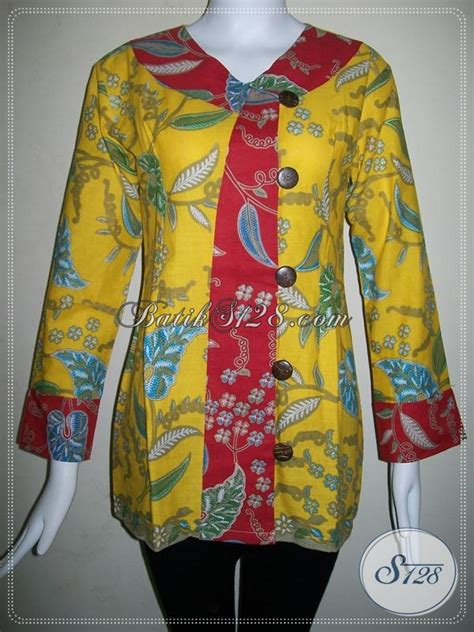 Batik Katun Motif Daun Pejabat baju batik motif daun trendy blus batik wanita warna