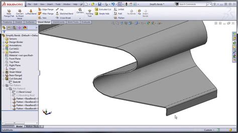 lofted sheet metal solidworks solidworks sheet metal normal cuts and simplify bends