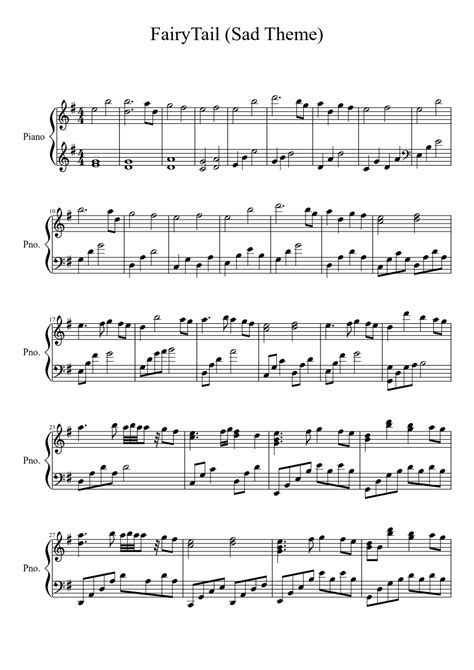 theme music sad fairy tail sad theme piano sheet music pinterest