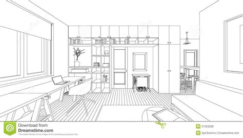 living room drawing interior drawing stock vector image 57523206