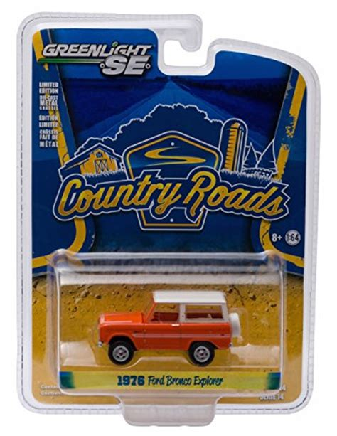 Greenlight 1 64 Country Roads 1976 Ford Bronco Explorer Orange Promo greenlight 1976 ford bronco explorer country roads