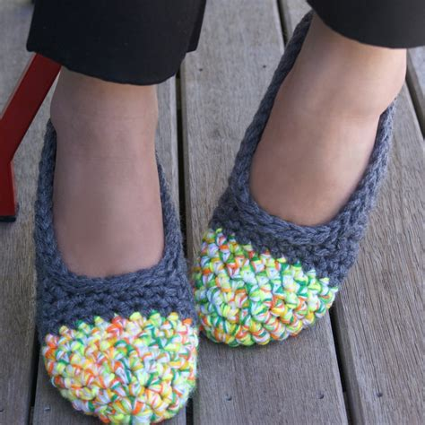 crochet shoes crochet slippers for house shoes in grey neon