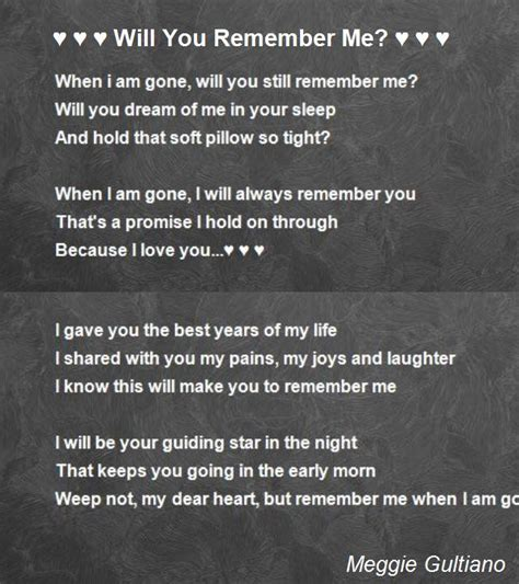 that s not poetry books will you remember me poem by meggie gultiano poem