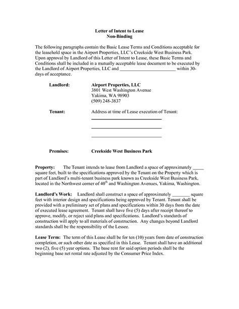 Commercial Real Estate Lease Letter Of Intent Template Best Photos Of Letter Of Intent Property Letter Of Intent Template Real Estate Sle Letter
