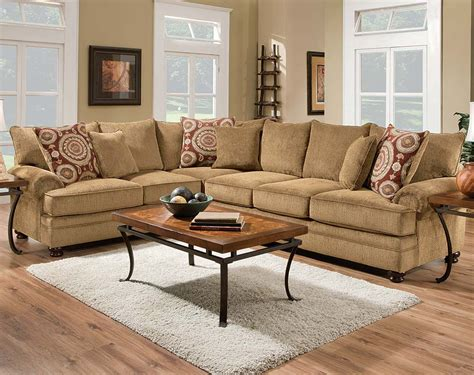 twill sectional tan couch dark brown round feet twill two piece