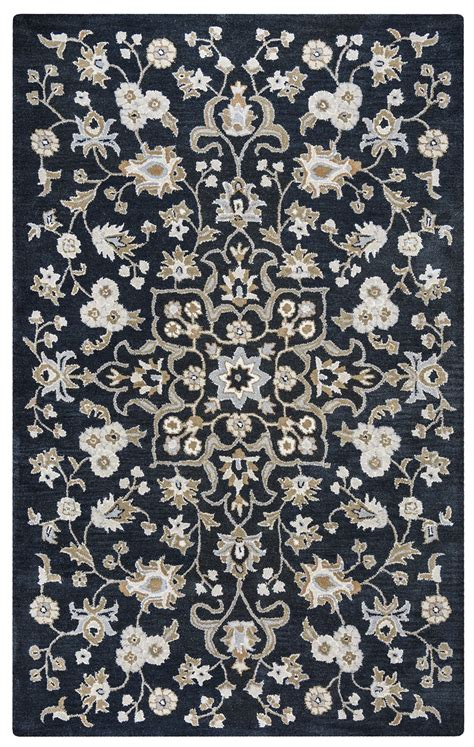 10 X 8 Black Rug by Valintino Ornate Floral Pattern Wool Area Rug In Black