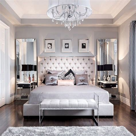 How To Decorate A Bedroom With Mirrored Furniture by Beautiful Bedroom Decor Tufted Grey Headboard Mirrored