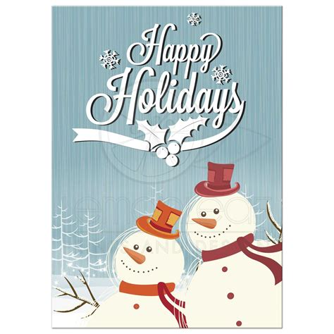 happy holidays greeting card template happy snowmen photo template greeting card